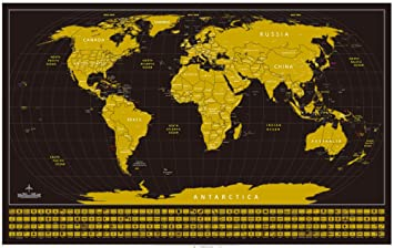 Amazon perfect travel scratch off world map poster with us perfect travel scratch off world map poster with us states outlined and country flags matching gumiabroncs Gallery