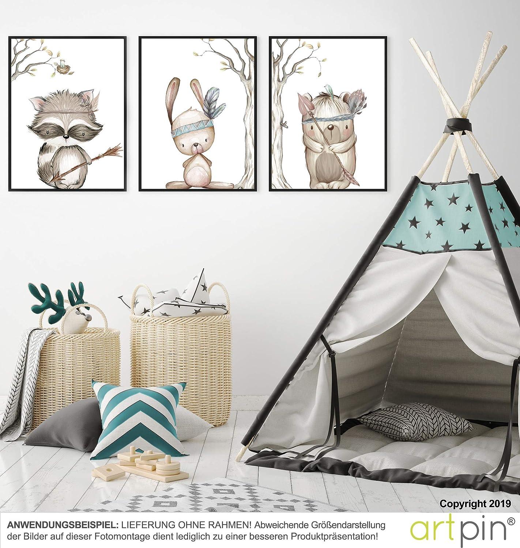 Deko Junge M/ädchen P23 A4 Bilder Babyzimmer artpin/® 3er Set Poster Kinderzimmer