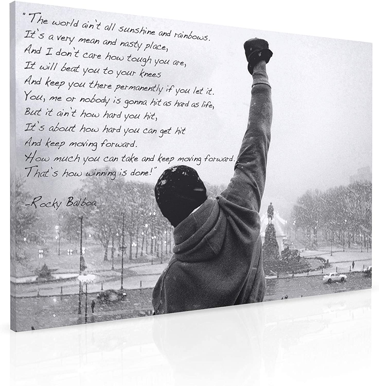 Amazon Com Panther Print Rocky Balboa Canvas Print Motivational Quote Wall Art Boxing Office Decor For Men Ready To Hang Large 30 X 20 Framed Canvas Artwork Inspirational Movie Quotes Posters Prints