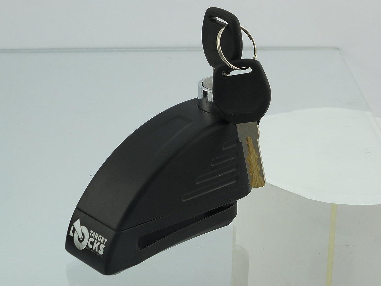 Target Alarmed Disc Padlock//Motorbike Disc Alarm Lock//Secure Motorcycle Motor bikes Scooter Bicycle Silver