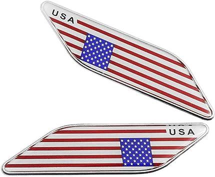 Satz Von 2 Stücke Aluminium Vereinigte Staaten Amerikanische Flagge Emblem Aufkleber Usa Flagge Grafische Abziehbilder Für Fahrzeug Auto Kotflügel Seitenschweller Kofferraum Heckklappe Stoßfänger Auto