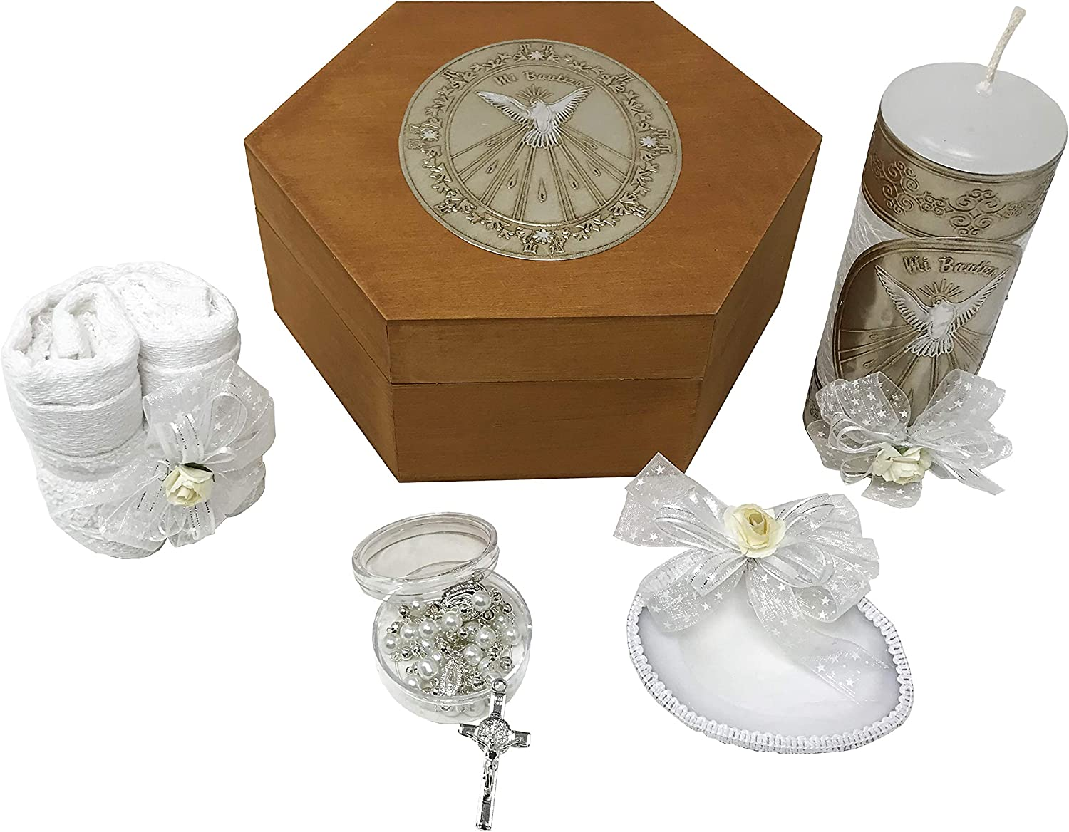 Handmade Catholic Baptism Kit including Medal White cross Towel Candle and Shell Kit De Bautizo Religious Gift