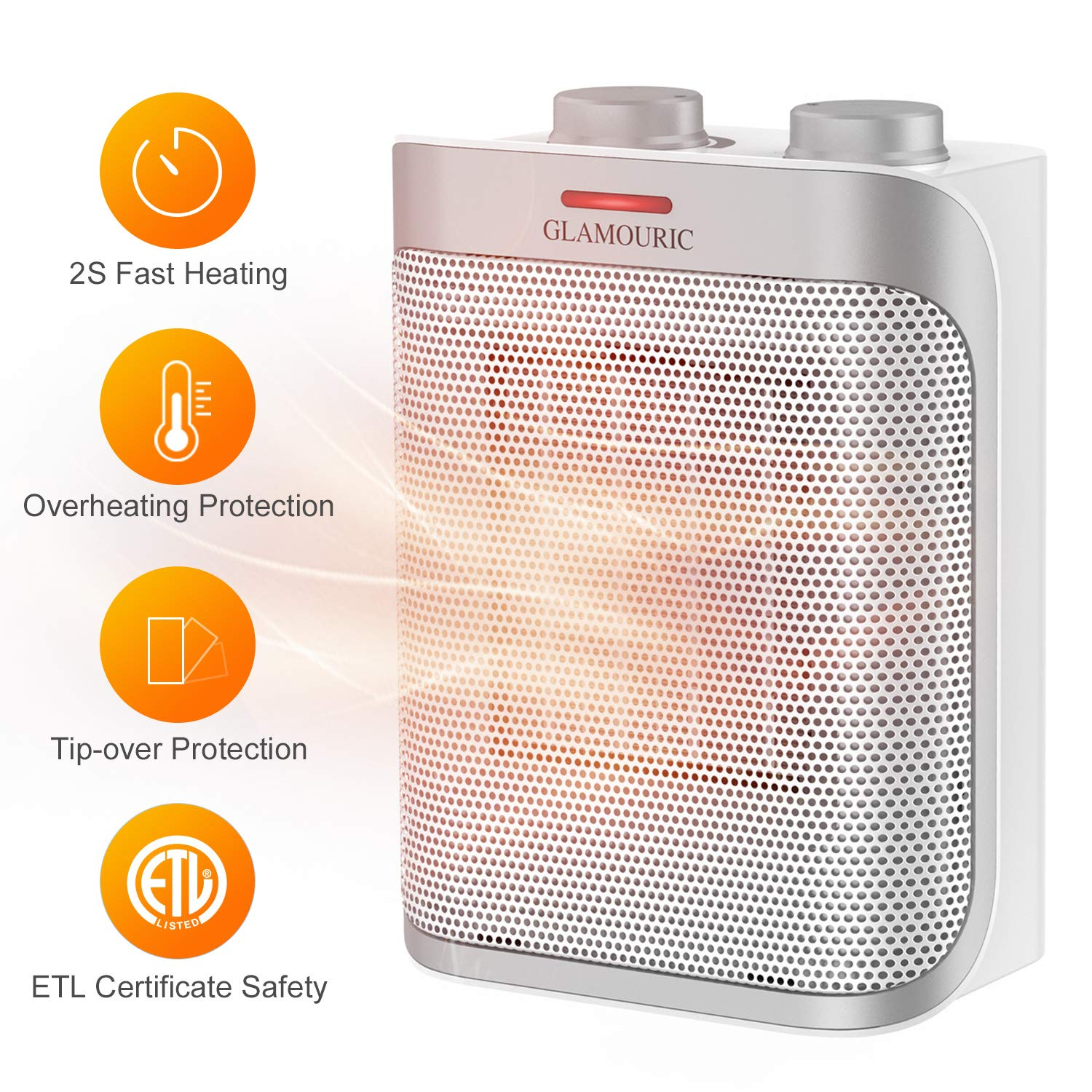 GLAMOURIC Ceramic Space Heater with 1500W ETL Listed Hot Cool PTC Heater White , Overheat Protection