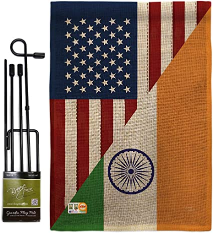 Amazon Com Us Friendship India Garden Flag Set With Stand Regional Usa American Alliance World Country Particular Area Small Decorative Gift Yard House Banner Double Sided Made In 13 X 18 5 Garden