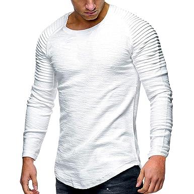 3929a8075 Bold Manner T-shirt Manches Longues Homme en Coton Col Rond Haut Top ...