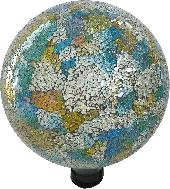 Gardener Select (16BFG06 Mosaic Glass Gazing Globe - Decorative Glass Gazing Globe/Ball/Sphere Lawn Ornament for Gardens (10 Inch, Blue/Yellow)