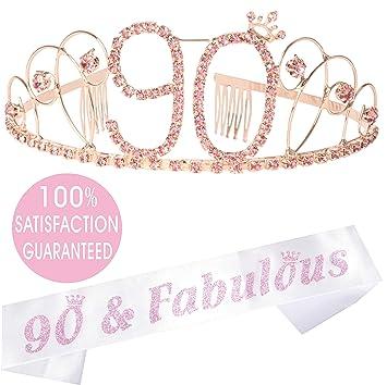 Amazon.com: Tiara de 90 cumpleaños y cinta rosa para fiesta ...