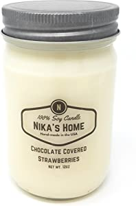 Nika's Home Chocolate Covered Strawberry Soy Candle - 12oz Mason Jar