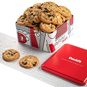 David's Cookies - 24Fresh Baked Cherry with White Chip Cookies Gourmet Gift Basket - Christmas, Holiday & Corporate Food Tin - Idea For Men & Women - Certified Kosher - 2 lb