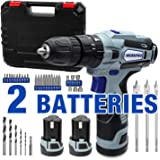 WORKPRO 12V Cordless Drill Driver Kit, 2-Speed, 2 Li-Ion Batteries 2000 mAh, Fast Charger, 3/8'' Clutch, 18+3 Torque…