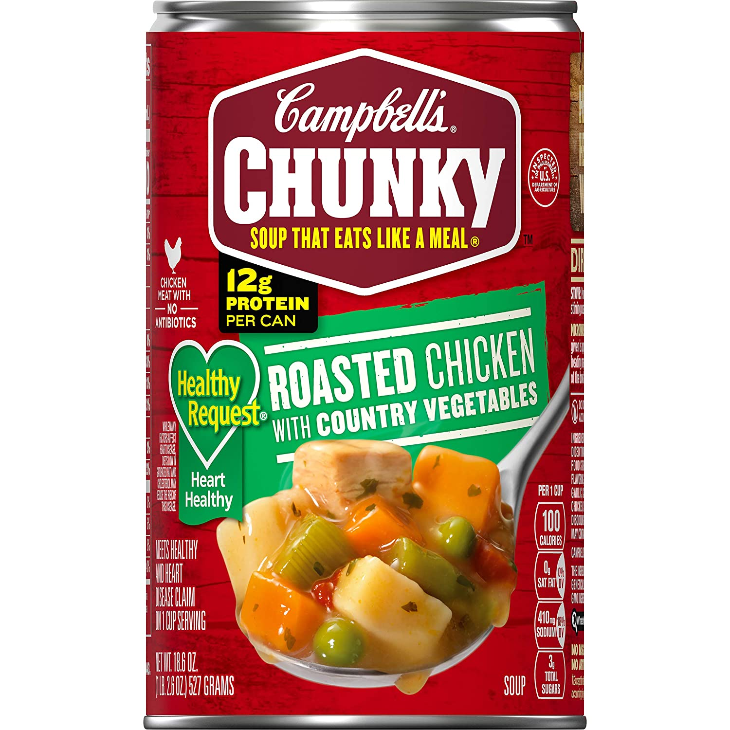 Campbell's Chunky Healthy Request Soup, Roasted Chicken with Country Vegetables, 18.6 Ounce (Pack of 12)