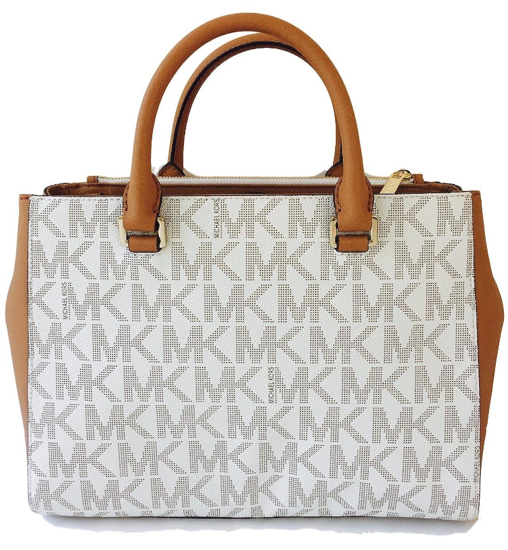 6c5e60228bd649 Amazon.com: Michael Kors Kellen Medium Satchel Crossbody Bag Vanilla Acorn  Brown: Shoes