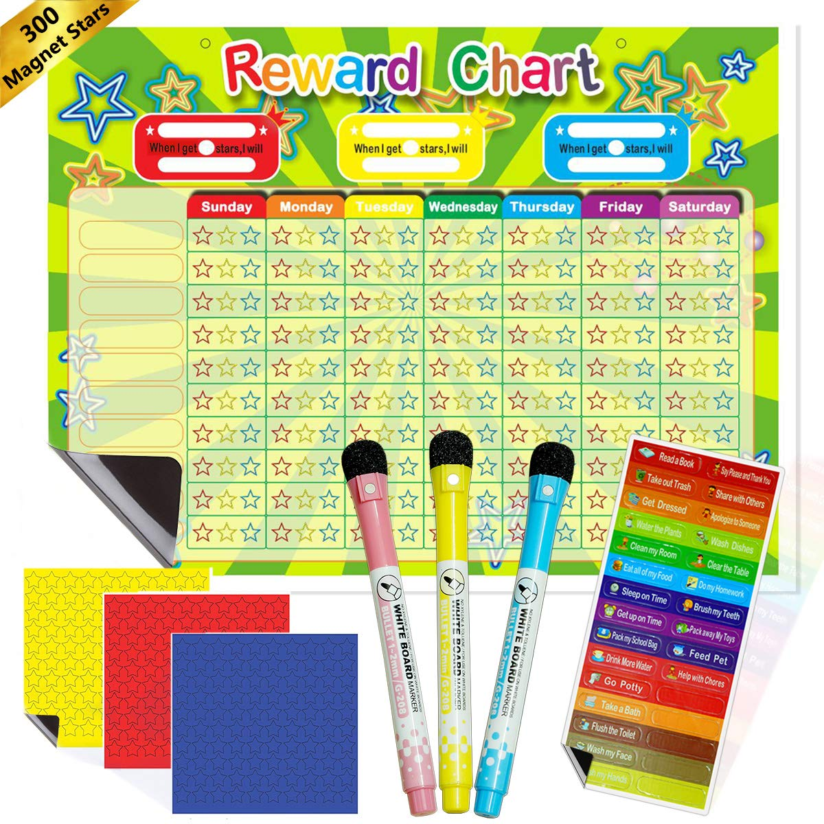 New ideas Rewards Chore Chart for Kids,Come with 30 Magnetic Chores,300 Magnetic Stars & 3 Color Dry Erase Markers,Magnetic Backing & Hanging Loop for Wall, Rigid Board Dry Erasable ( 16X12 inch)