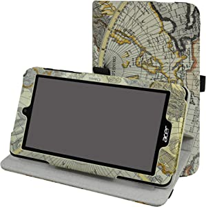 """Acer B1-780 / B1-790 Rotating Case,Mama Mouth 360 Degree Rotary Stand with Cute Cover for 7"""" Acer Iconia One 7 B1-780 / Iconia One 7 B1-790 Android Tablet,Map White"""