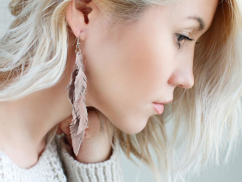 dangle earrings layered earrings Dusty Pink brownish suede leather Feather Earrings Boho earrings long earrings tribal Earrings