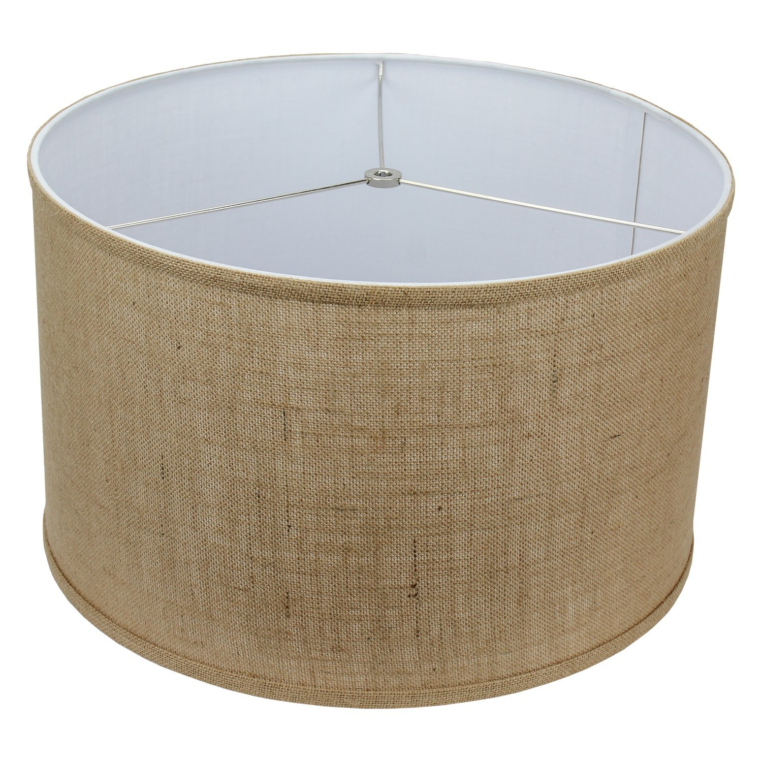 FenchelShades.com 18'' Top Diameter x 18'' Bottom Diameter 12'' Height Cylinder Drum Lampshade USA Made (Burlap)