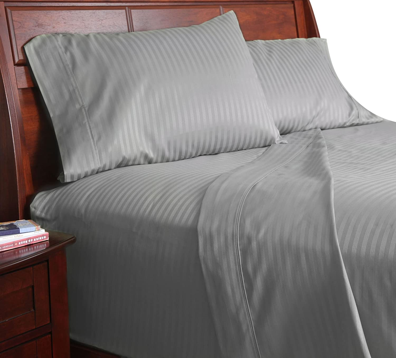 Lavish Home 300 Thread Count Cotton Sateen Sheet Set, Queen, Gray