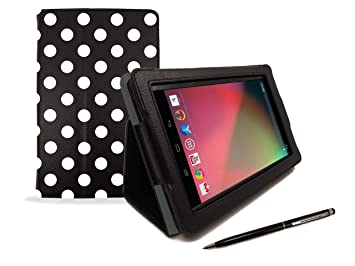 Google Nexus 7 Tablet Case – Black & White Polka Dot Print PropUp Stand  Case Cover (with integrated stand function and magnetic sleep sensors) &