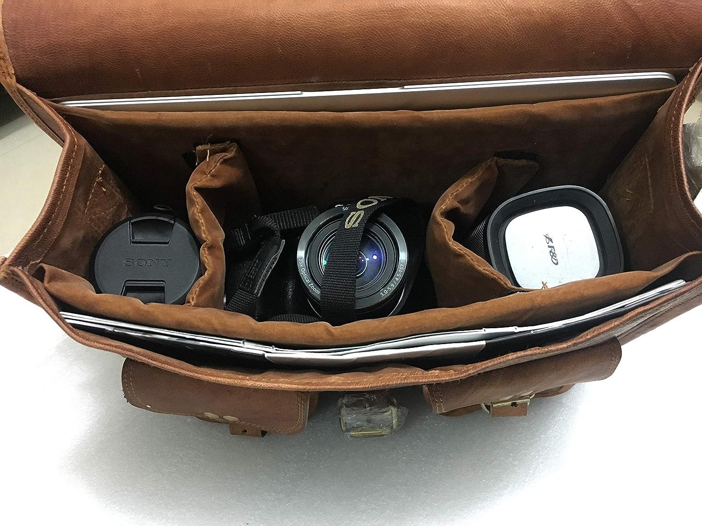 Hell blues Leather DSLR SLR Shockproof Bag Large Gadget Camera Case 3 Lenses Shoulder Messenger for Canon Nikon Olympus Sony with Removable Insert