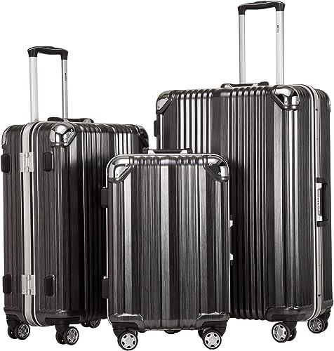 Coolife Luggage Aluminium Frame Suitcase 3 Piece Set with TSA Lock 100 PC BLACK