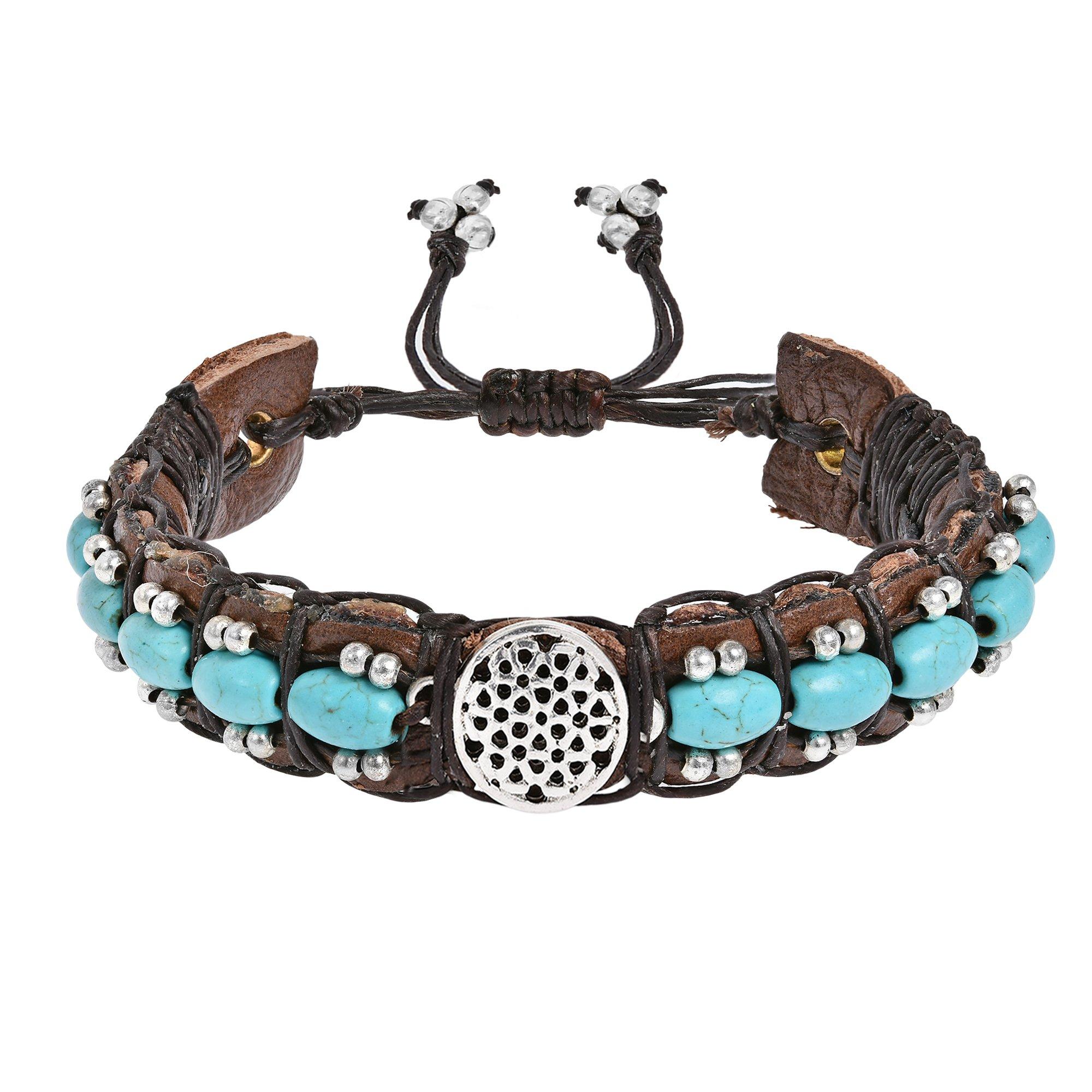 AeraVida Inspirational Flower of Life Simulated Turquoise Rolls Leather Adjustable Wrist Pull Bracelet