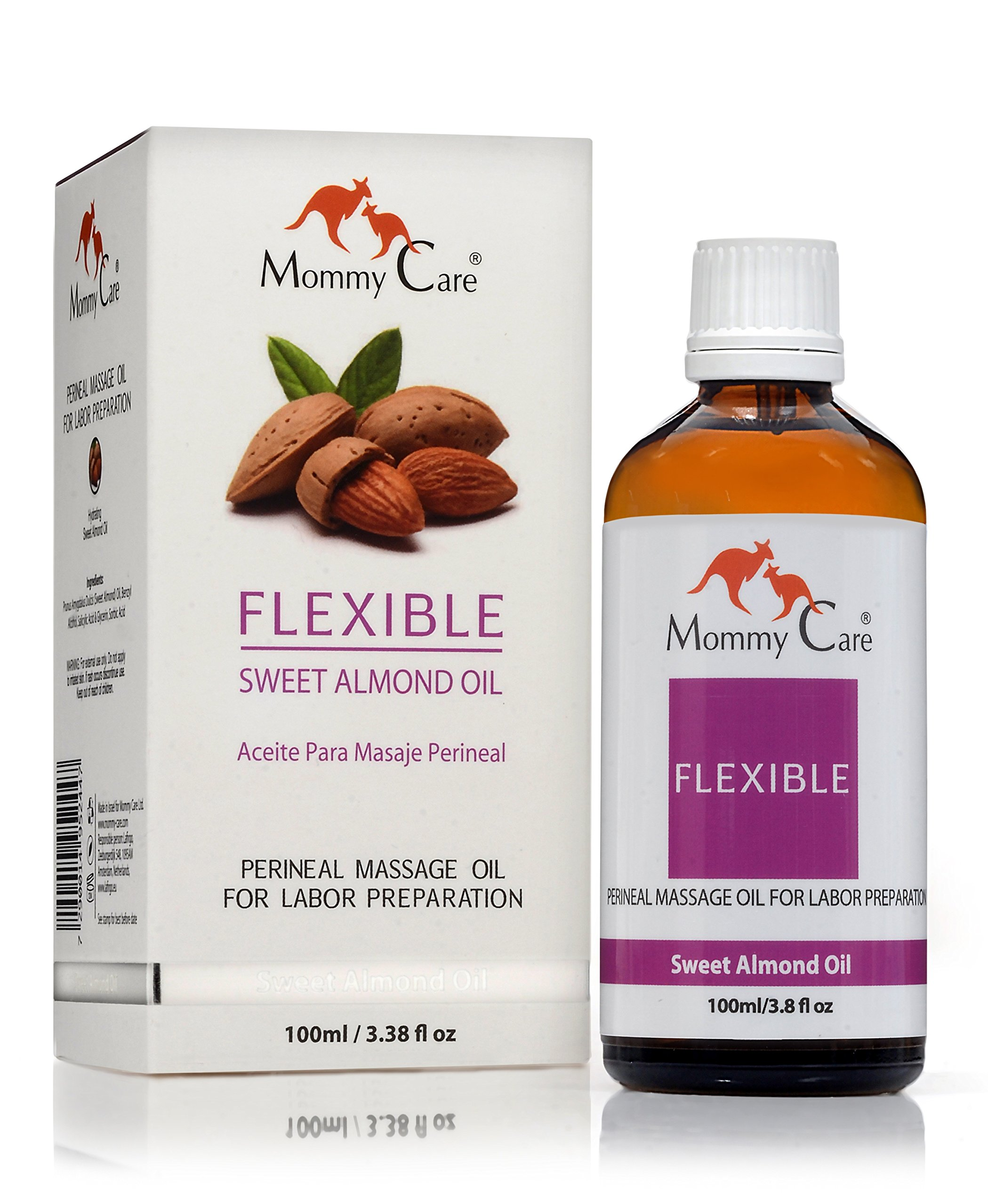 Mommy Care Flexible Perineal Massage Oil, Sweet Almond Oil For Pregnancy and Postpartum Recovery 100ml/3.38 fl.oz Certified Organic All Natural