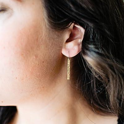 Hammered Skinny Bar Earrings - 14k Gold Filled Thin Bar Earrings - Classic Everyday Line