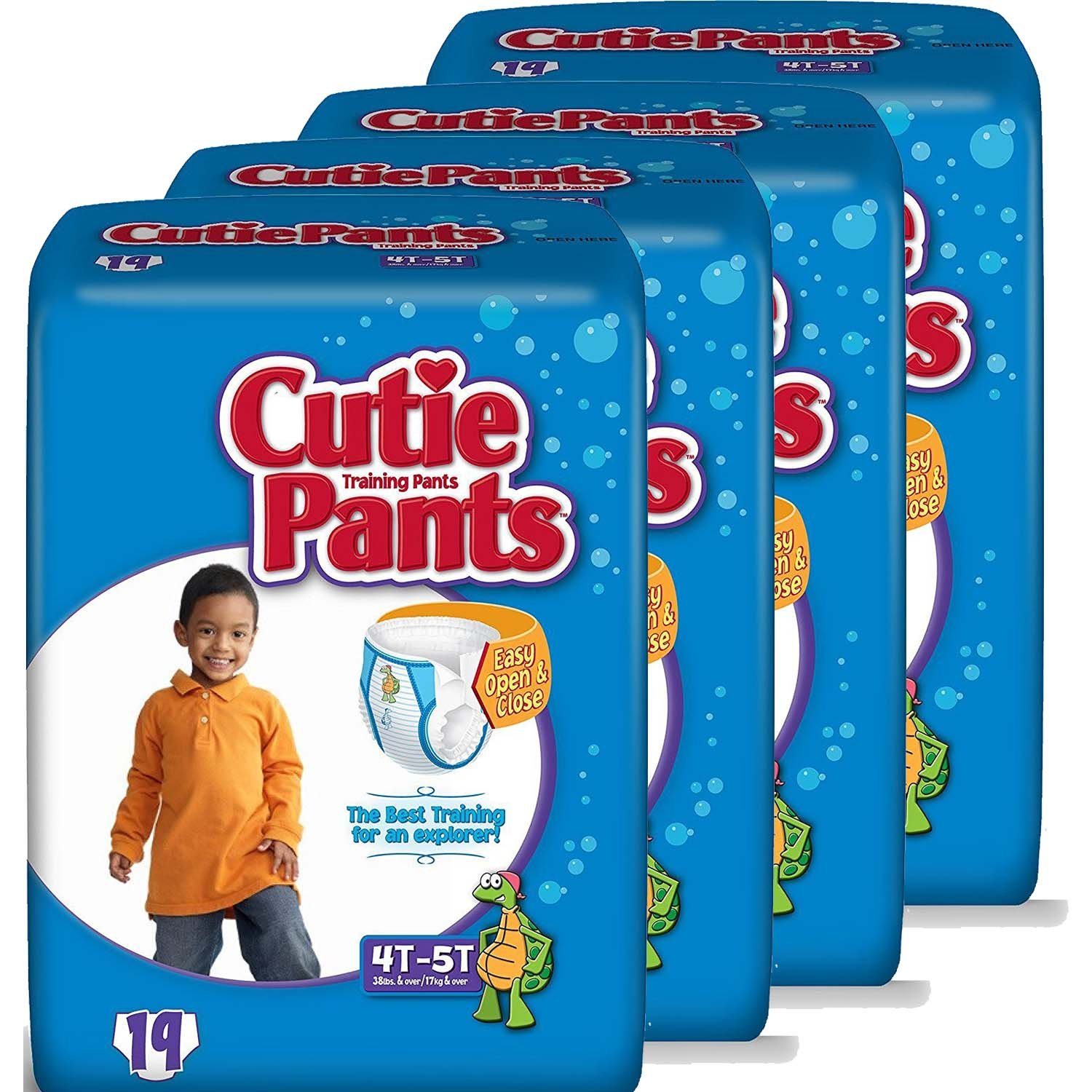 Cuties Toddler Training Pants for Boys, Size 4T-5T, 19-Count, Pack of 4