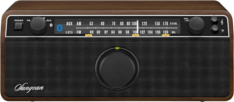 Sangean WR12BT - Radio de 16 W (Bluetooth, AM, FM, 3.5 mm), marrón