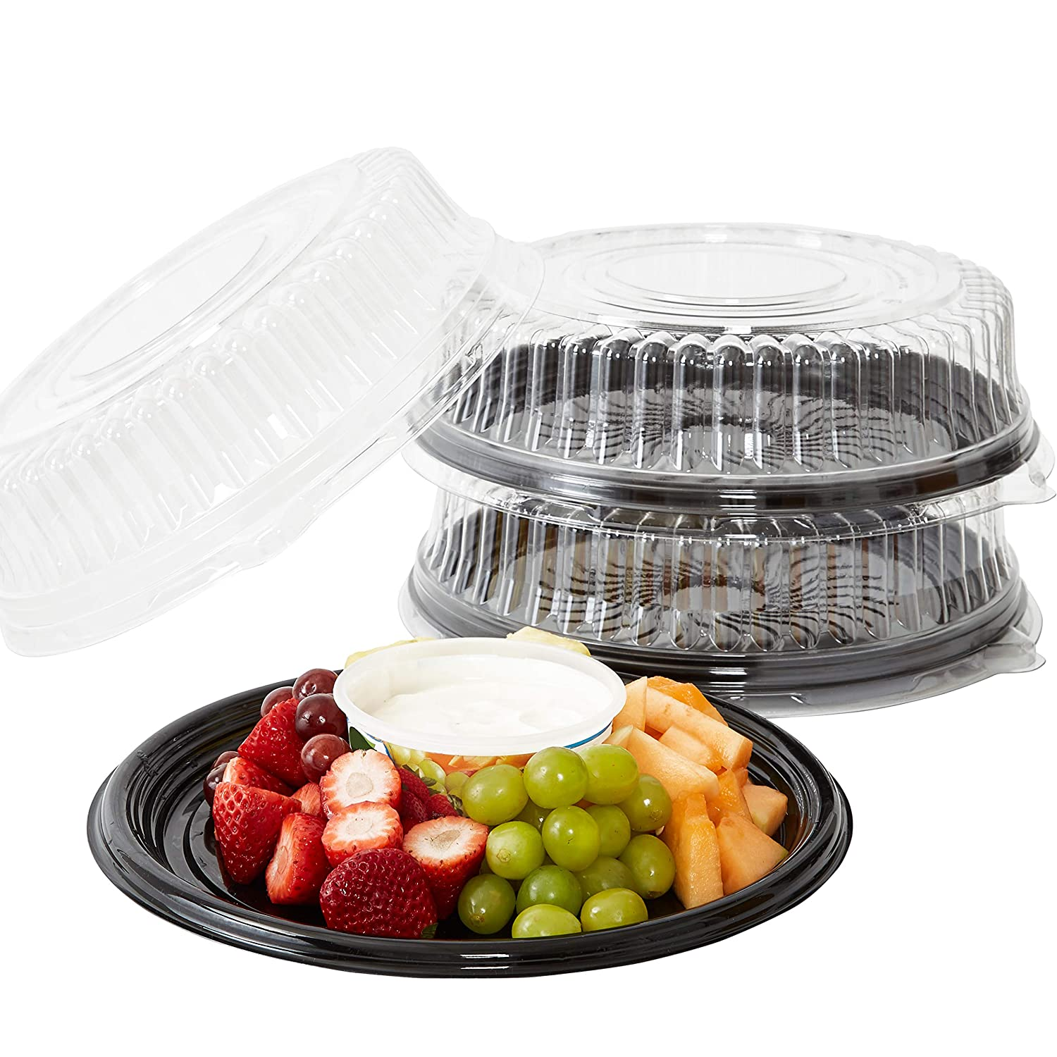 Heavy Duty, Recyclable 12 in. Serving Tray and Lid 3pk. Large, Black Plastic Party Platters with Clear Lids. Elegant Round Banquet or Catering Trays for Serving Appetizers, Sandwich and Veggie Plates