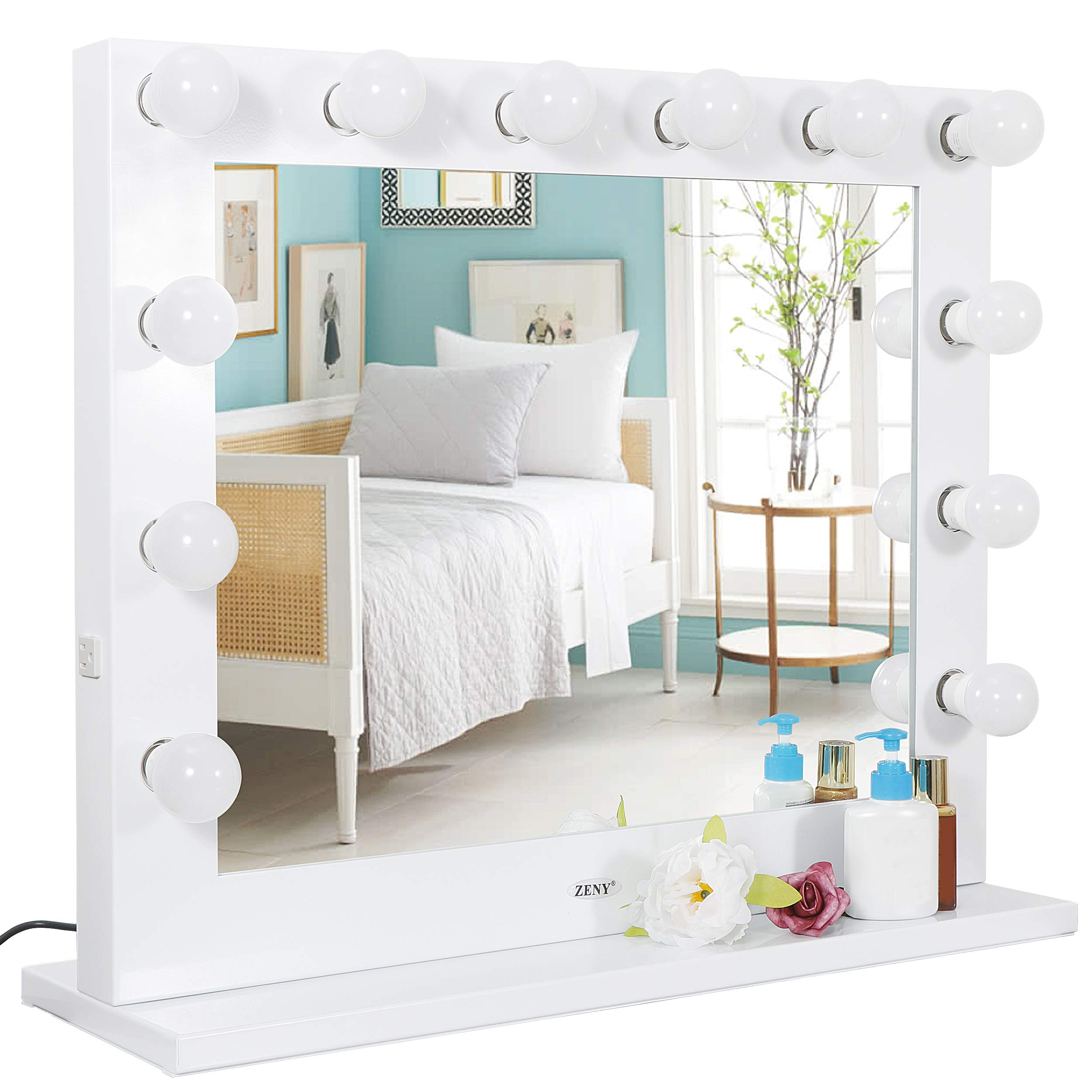 SUPER DEAL Plus Clear Hollywood Vanity Mirror Lighted Vanity Makeup Mirror Makeup Mirrors with Lights Cosmetic Makeup Mirror w/14 Dimmable Bulbs, Tabletop or Wall Mounted (Newest) by SUPER DEAL