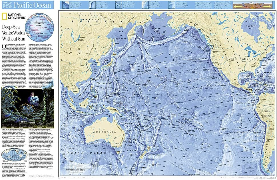Amazon Com National Geographic Pacific Ocean Floor Wall Map 31 75 X 20 75 Inches National Geographic Reference Map 0749717008632 National Geographic Maps Books