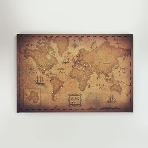 Amazon world travel map pin board golden aged handmade world travel map pin board golden aged gumiabroncs Image collections