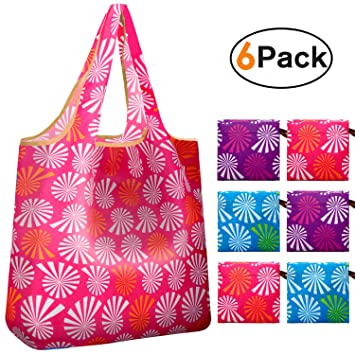 b706048548ef Reger Foldable Nylon Light Weight Compact Grocery Shopping Bags Reusable &  Machine Washable Fits in Pocket Eco Friendly 6 in 1 Pack (Windmill Prints,  ...