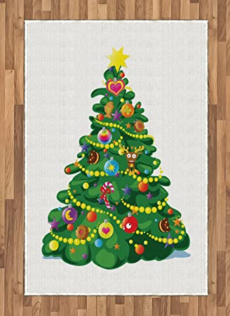 Amazon Com Ambesonne Christmas Area Rug Children Cartoon Drawing