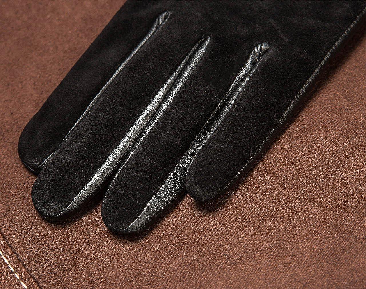 YISEVEN Femme Nouveau Hiver Gant en cuir peau de mouton /écran tactile suede agneau veritable chaud laine double el/égante n/œud long slim poignet protection travail conduite moto cadeau