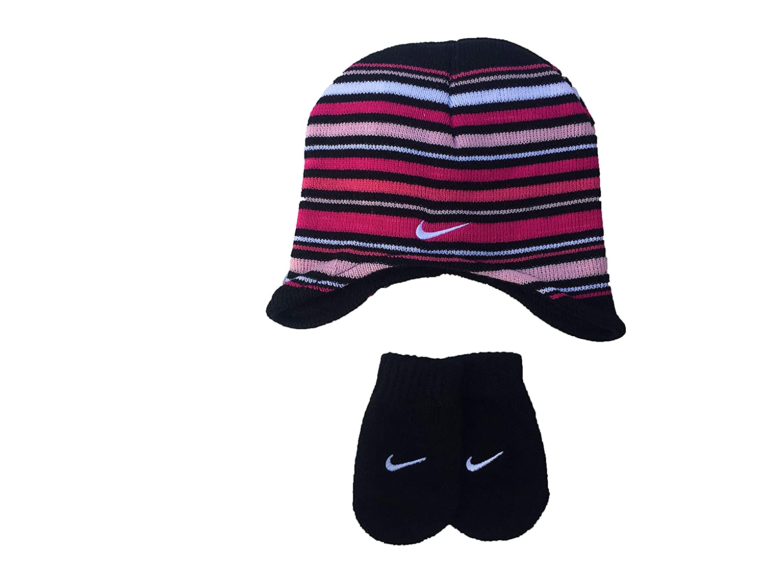 29e4b2d354f Amazon.com  Nike Toddler Boy s Knit Striped Hat   Mittens Set  Sports    Outdoors