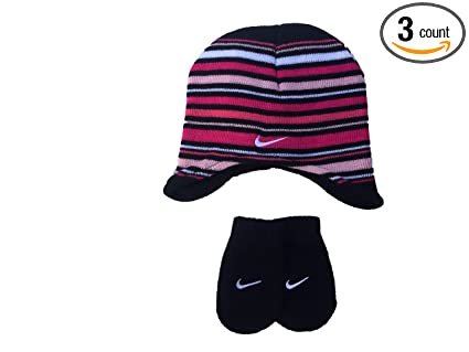 Nike Toddler Girls Pink Black Striped Knit Hat and Mittens Set Size 2 4T d750b353d827