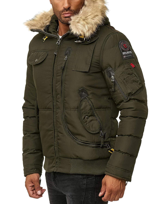 BLACKROCK Herren Winter Jacke Gefütterte warme Herrenjacke Slim Fit mit Kapuze und abnehmbarem Kunstfell