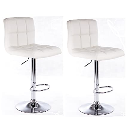 77422f2bc291 Modern Set of (2) Brand New White Swivel Leather Bar Stool Pub Barstools
