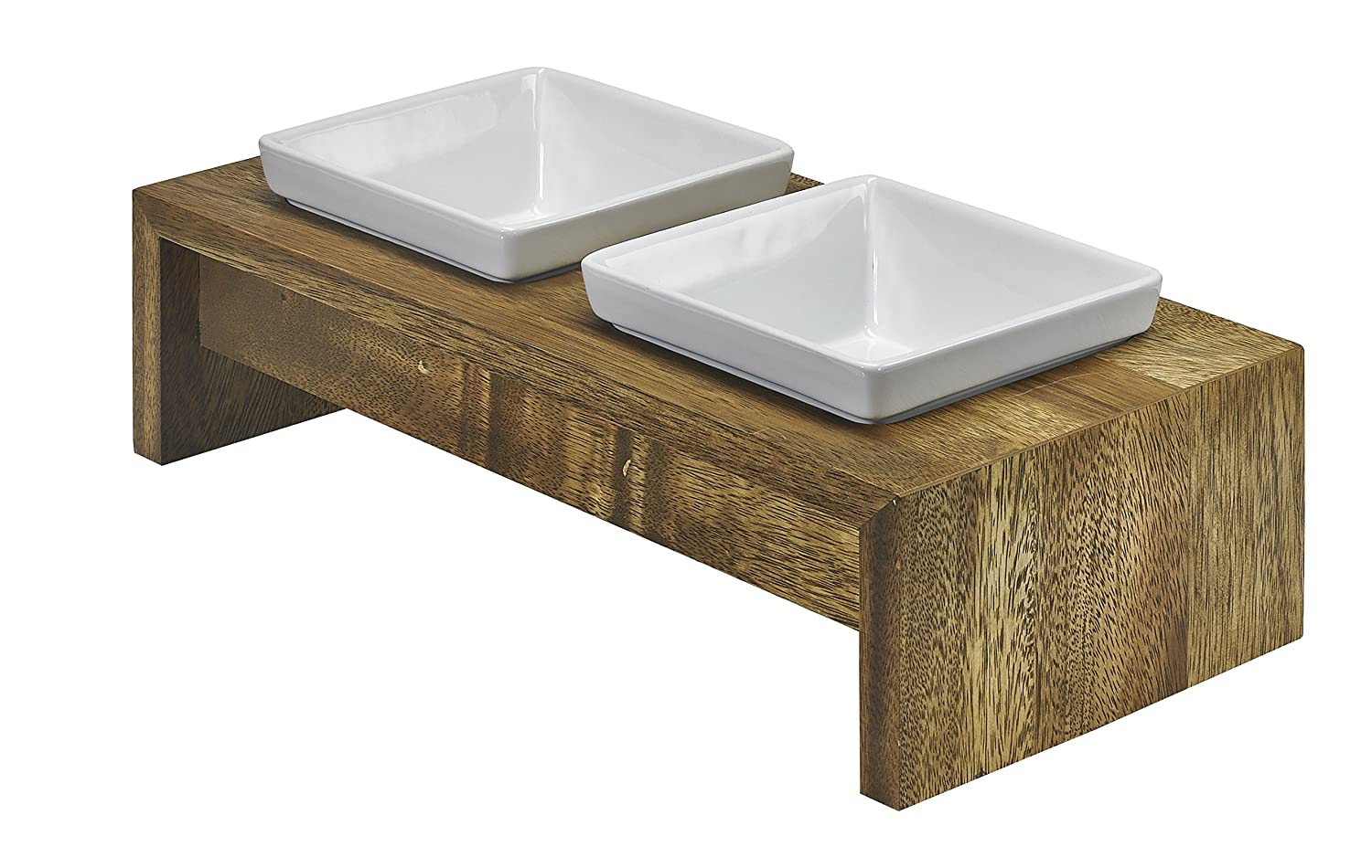(Small, Bamboo) Bowsers Artisan Diner Double Dog Feeder