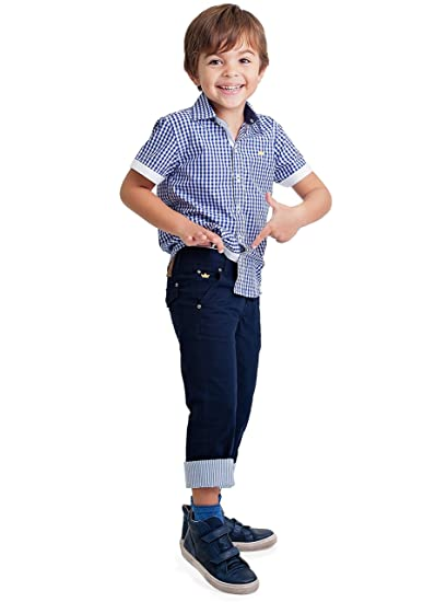 Dakomoda Toddler Boys Cotton Pants Navy Blue Roll Up Pants Adjustable Waist Uniform Pants