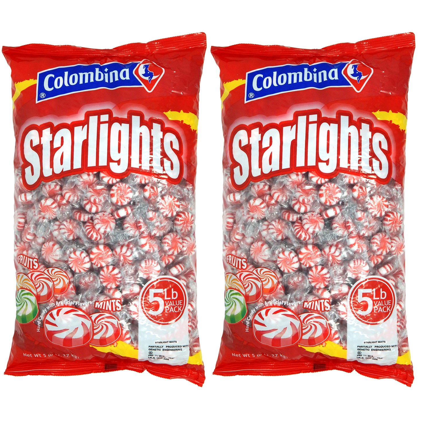 Nosh Pack Peppermint Starlight Mints Individually Wrapped Candy Bulk 10 Pounds - Approx. 800 Mints