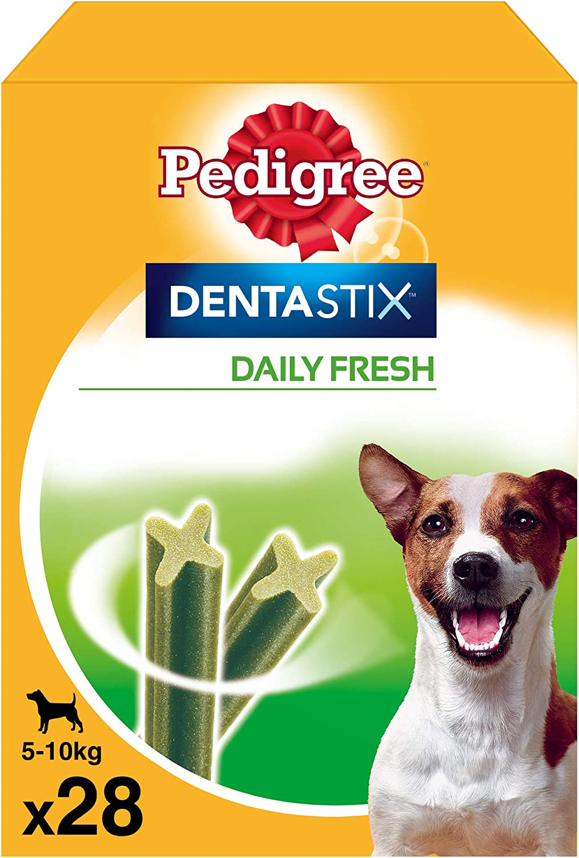 Pedigree Pack de Dentastix Fresh de uso Diario para la Limpieza Dental y Contra el Mal Aliento de Perros Pequeños (4 Packs de 28ud)