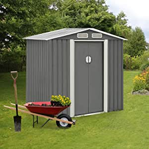 Crownland Patio Backyard Garden Storage Shed 4 x 6 Feet Tool House with Sliding Door Outdoor Lawn Steel Roof Style Sheds, Dark Grey