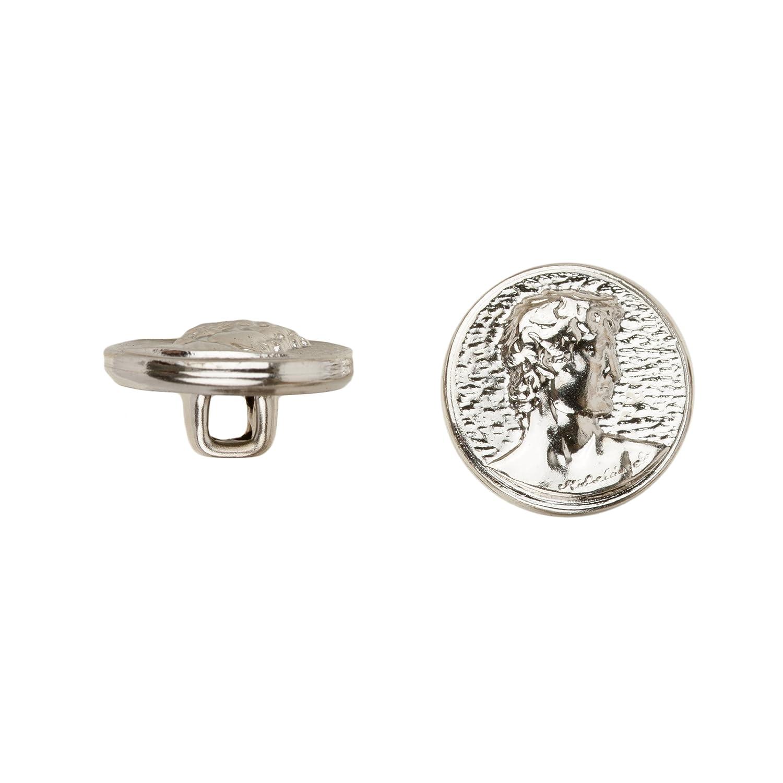 C/&C Metal Products 5015 David Metal Button 72-Pack Size 24 Ligne Nickel