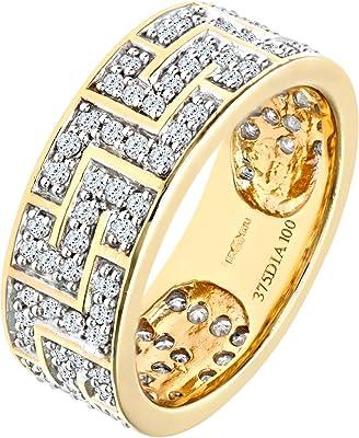 Anillo elaborado en oro amarillo de 9K con tono cálido y diamantes blancos