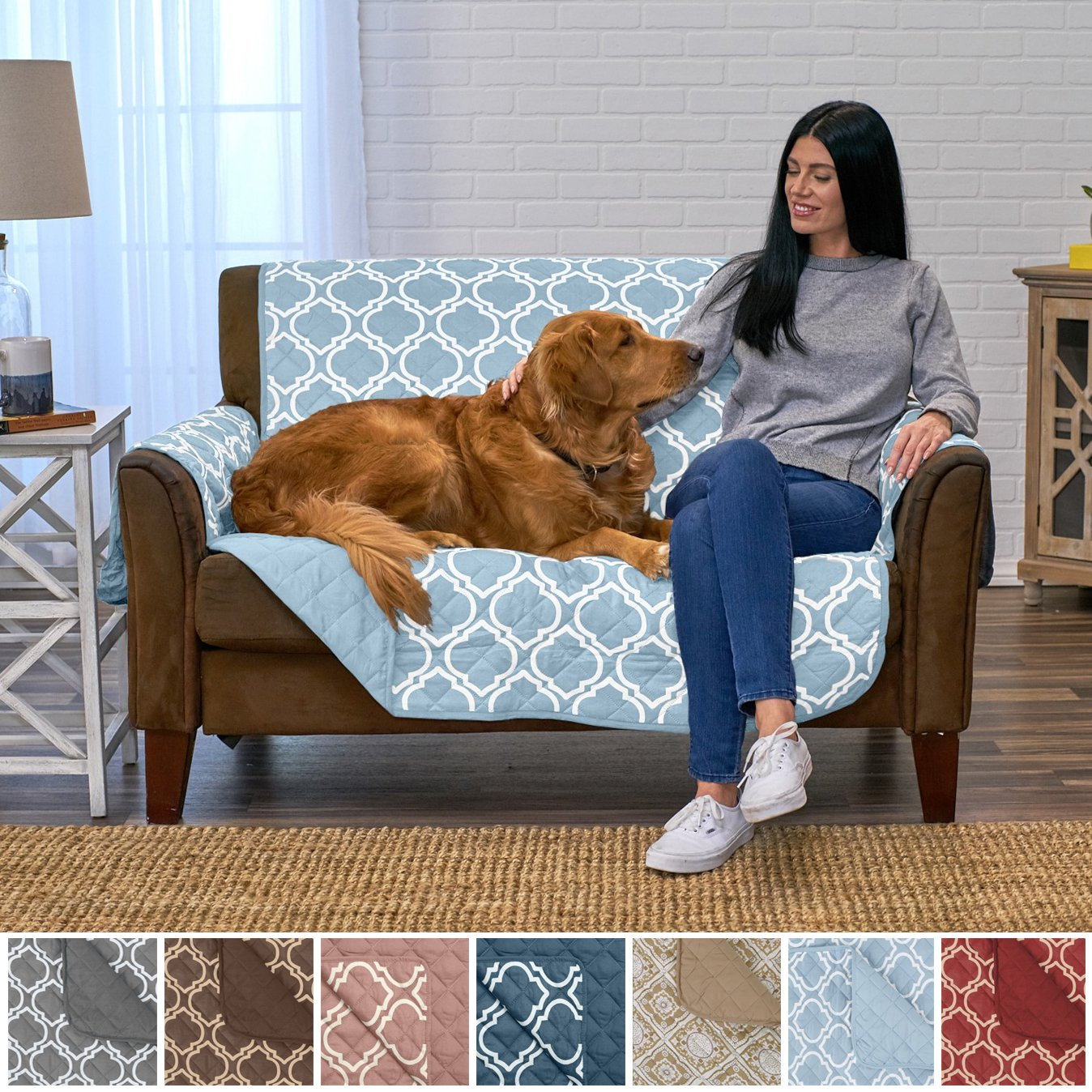 Home Fashion Designs Adalyn Collection Deluxe Reversible Quilted Furniture Protector. Beautiful Print on One Side/Solid Color on the Other for Two Fresh Looks. By Brand. (Loveseat, Marine Blue)