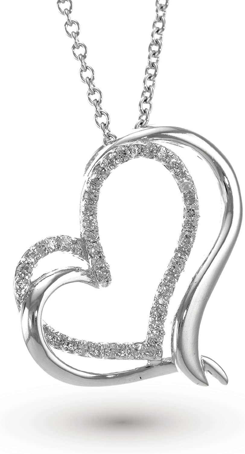 925 Sterling Silver with Clear Cubic Zirconia CZ Cut-Out Pave Heart pendant Rhodium Plated White Gold Plated chain not included