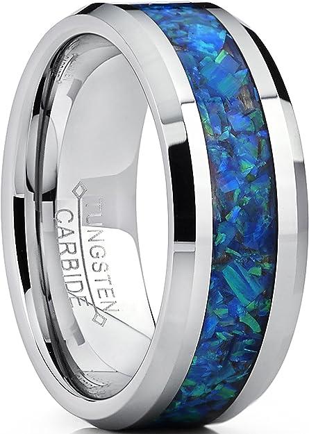 Blue Band Wedding Ring Tungsten Wedding Band Blue Wedding Ring Blue Tungsten Band Shiny Blue Tungsten Ring Blue And Silver Ring